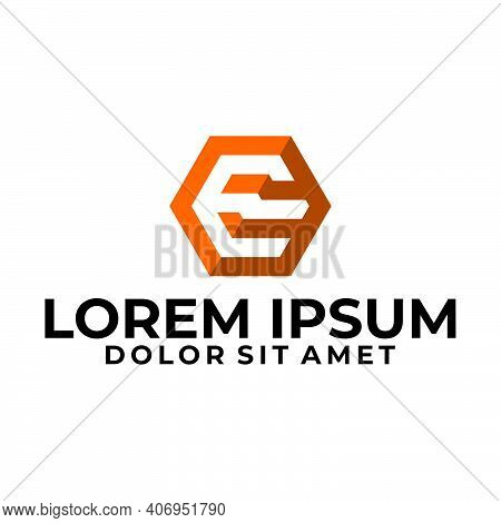Initial Letter E Logo Template With Modern Geometric 3d Cube Hexagonal Line Art Illustration In Flat