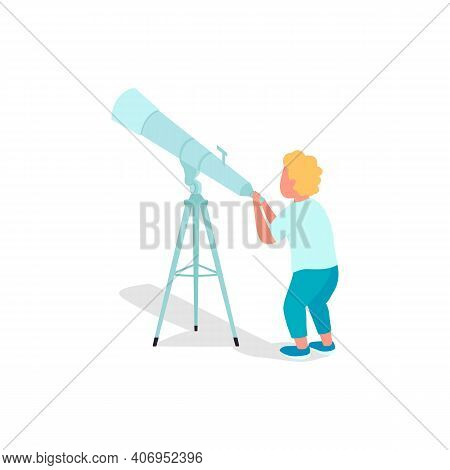 Little Child Flat Color Vector Faceless Character. Kids Using Telescope To Explore Different Planets