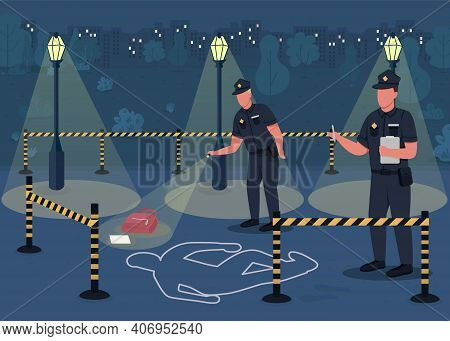 Crime Investigation Flat Color Vector Illustration. Searching For Crime Evidence. Police Officers In