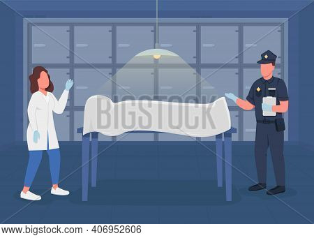 Morgue Flat Color Vector Illustration. Ivestigation About Crime Suquences. Police Medical Expert And