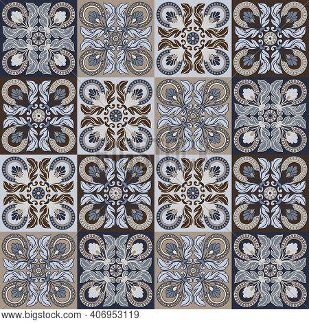 Portuguese Azulejo Ceramic Tile Seamless Pattern. Mediterranean Traditional Ornament. Italian Potter