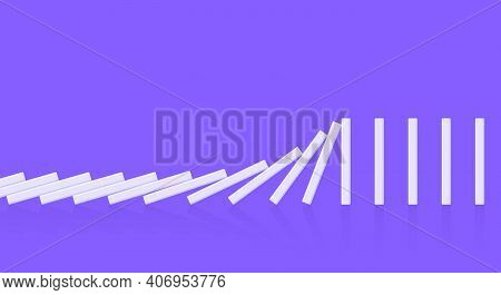 Domino Effect Business Concept. Line In A Row Of Falling Board Game Blocks Of Dominoes Flat Style Ve