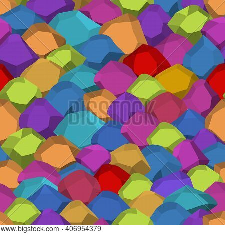 Seamless Pattern With Cartoon Stones. Rock Stones. Colorful Boulders, Natural Building Block Shapes,