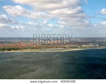 Kopenhagen City And Sea Aerial View. Denmark. Europe