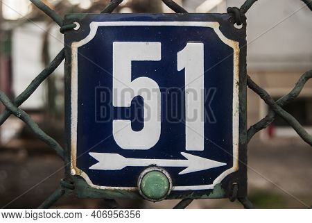 Weathered Grunge Square Metal Enameled Plate Of Number Of Street Address With Number 51