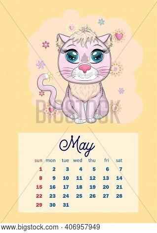2022 Cow Calendar.Calendar 2022 Cute Vector Photo Free Trial Bigstock