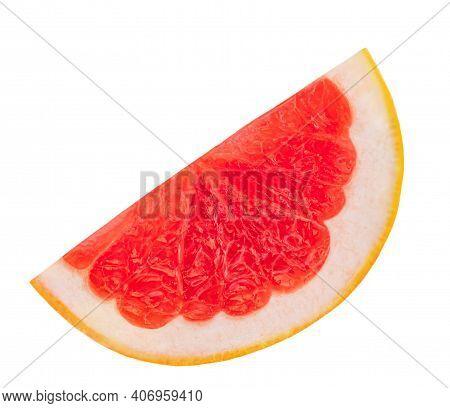 Grapefruit Piece  Isolated On A White Background. Ripe Slice  Of Pink Grapefruit Citrus Fruit
