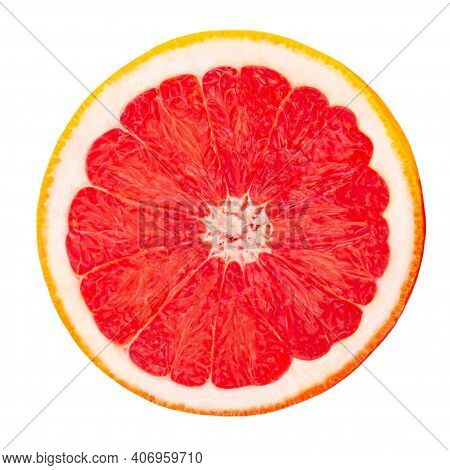 Grapefruit Circle Slices  Isolated  On White Background, Top View.  Pink Grapefruit Flat Lay.
