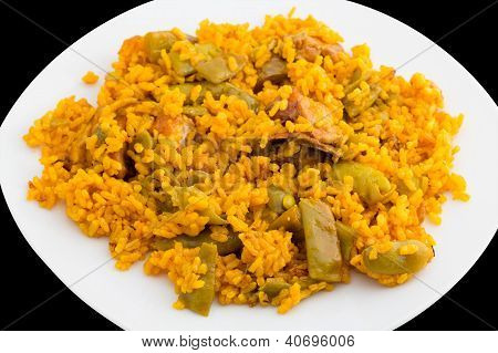 Closeup view of paella, top view of plate, typical Spanish cuisine poster