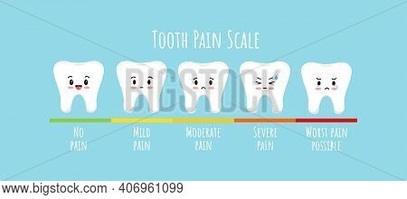 Pain Measurement Scale With Tooth Kids Character. Cute Teeth Different Stages Of Toothache On Pain L