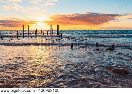 Iconic Port Willunga Jetty Ruins At Sunset, South Australia