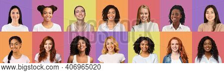 Set Of Happy Young Multiracial Ladies Female Students Portraits On Colorful Backgrounds, Creative Im
