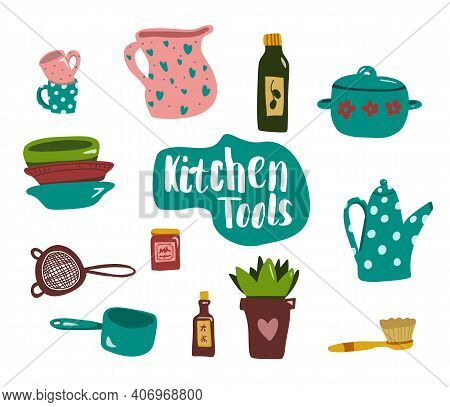 Kitchen Tools Or Equipment In Flat Style. Pot, Plants, Cup, Dish, Bowl, Teapot. Vector Illustration
