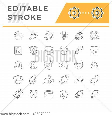 Set Line Icons Of Meat Isolated On White. Forcemeat, Pork, Mutton, Fish, Bird, Chicken, Sausage, Lam