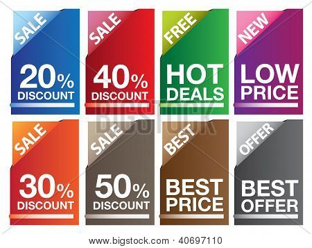 Sale Labels In Different Colors And Mesages.