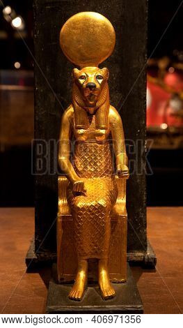 Religion Of Ancient Egypt. Sekhmet - Goddess Of The Scorching Sun, War And Healing. Ancient Egyptian