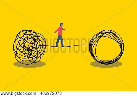 Solution Problem Concept. Man Walking On Tightrope. Life Coaching, Transformation Idea. Brainstormin