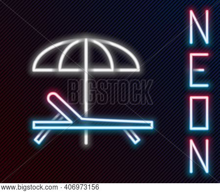 Glowing Neon Line Sunbed Icon Isolated On Black Background. Beach Umbrella And Sun Lounger. Colorful