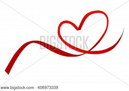 Red Ribbon With A Heart On A White Background. Red Heart-shaped Line, Red Heart-shaped Ribbon For De