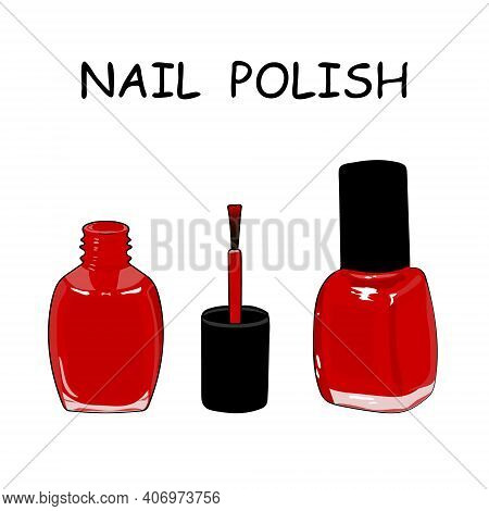 Closed Bottle And Open A Bottle Of Red Nail Polish And A Brush. Hand Drawing Nail Polish. Vector Ill