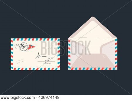 Letter Paper Cover Or Airmail Envelopes Set With Stamp And Postmark, Opposite And Front Views Set. M
