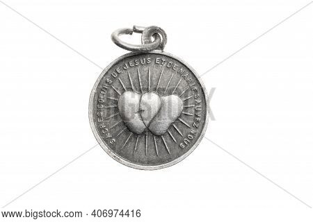 Old Silver Locket On A White Isolated Background