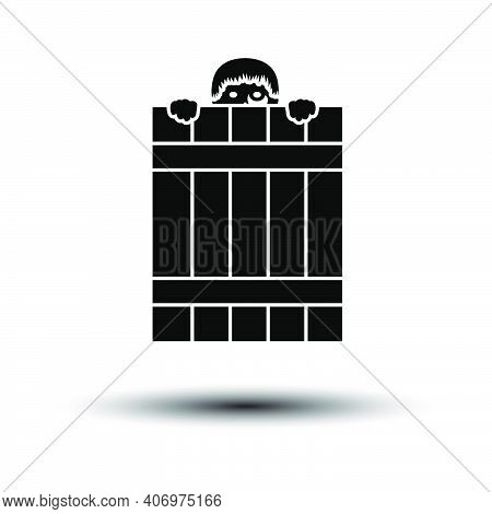 Criminal Peeping From Fence Icon. Black On White Background With Shadow. Vector Illustration.