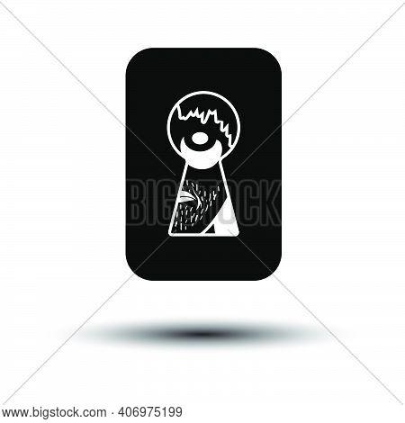 Criminal Peeping Through Keyhole Icon. Black On White Background With Shadow. Vector Illustration.
