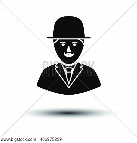 Detective Icon. Black On White Background With Shadow. Vector Illustration.