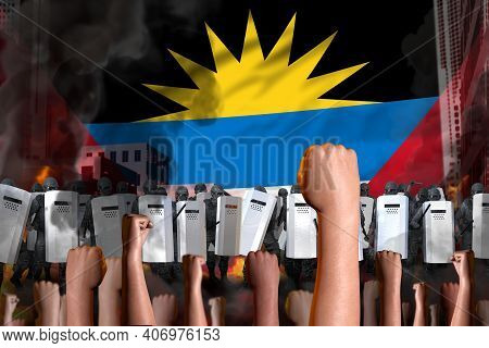 Protest In Antigua And Barbuda - Police Special Forces Stand Against The Angry Crowd On Flag Backgro