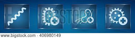 Set Virus, Positive Virus, Positive Virus And Positive Virus. Square Glass Panels. Vector