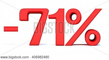 Minus 71 Percent Off 3d Sign On White Background, Special Offer 71% Discount Tag, Sale Up To 71 Perc