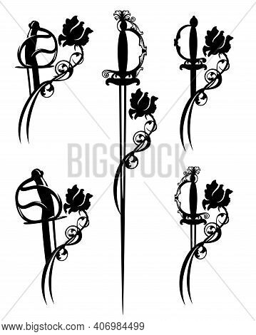 Romantic Fairy Tale Small Sword And Sabre Blade Entwined With Rose Flower Black And White Vector Sil