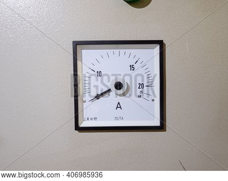 Electrical Appliance Analog Ammeter. Control Panel With Analog Ammeter Devices.