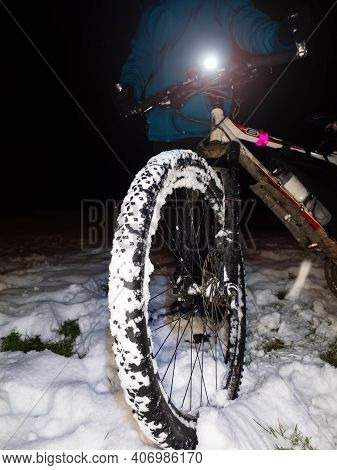 Extreme Race In Snow. Boy Pushing Mtb After Accident On Slippery Ground Winter Adventure And Extreme