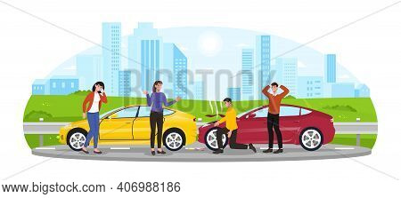 Two Men And Two Women Are Having Car Accident. Angry And Fierce Men Are Checking Automobile Damage O