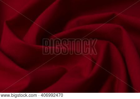 Fabric, Tissue, Textile, Cloth, Fabric, Web, Material Wavy Red Close-up. Texture, Fabric Background