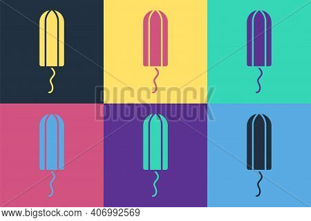 Pop Art Menstruation And Sanitary Tampon Icon Isolated On Color Background. Feminine Hygiene Product