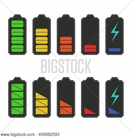 Set Of Battery Charge Level Indicators. Fully Charged And Discharged Battery Smartphone. Multicolore