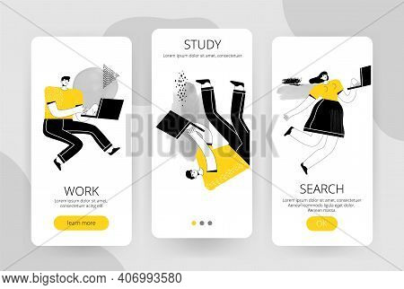 Set Of Screens For A Mobile Application. People With Laptops Work, Study, Research, And Seek Informa