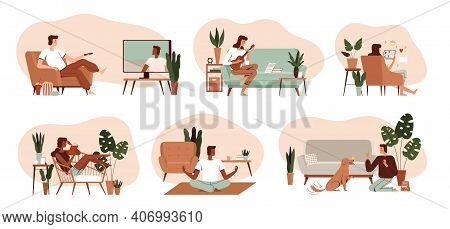 Set Of Peoples Home Activities. Scenes With Hobbies And Hobbies. Watching Tv, Playing The Ukulele, R