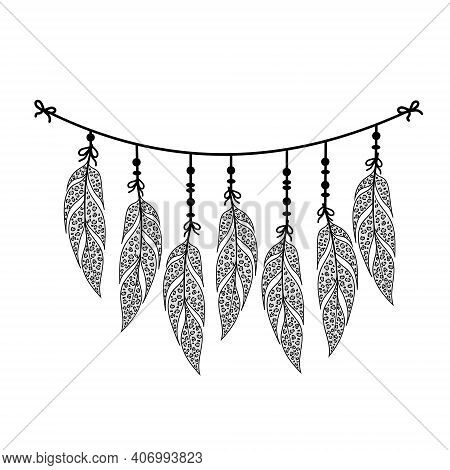 Boho Leopard Animal Print Bird Feather Garland, Dream Catcher, Isolated, Color, Vector Illustration,