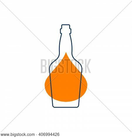 Modern Abstract Illustration With Bottle Whiskey With Yellow Blob. Linear Outline Sign. Logo Illustr