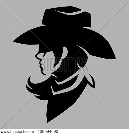 Cowgirl Wearing Bandana Portrait Side View Symbol On Gray Backdrop. Design Element