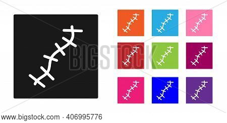 Black Scar With Suture Icon Isolated On White Background. Set Icons Colorful. Vector