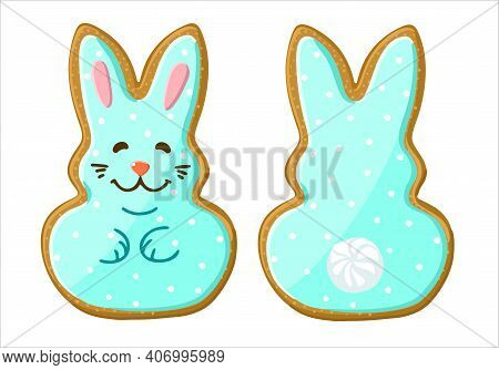Gingerbread In The Shape Of An Easter Bunny. Illustration. Vector On An Isolated Background.