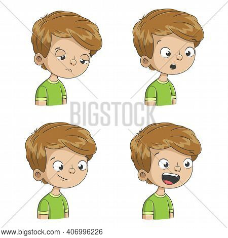 Boy Shows Four Emotions, Sad, Surprised, Satisfied, Happy. Hand Drawn Vector Illustration With Separ