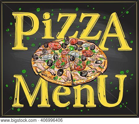 Pizza menu chalkboard display with whole pizza. Raster version