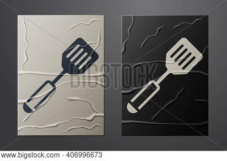 White Spatula Icon Isolated On Crumpled Paper Background. Kitchen Spatula Icon. Bbq Spatula Sign. Ba