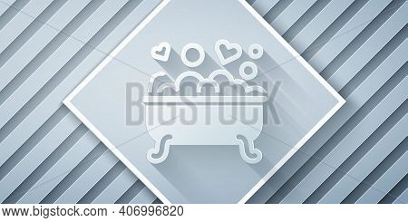 Paper Cut Romantic In Bathroom Icon Isolated On Grey Background. Concept Romantic Date. Romantic Bat